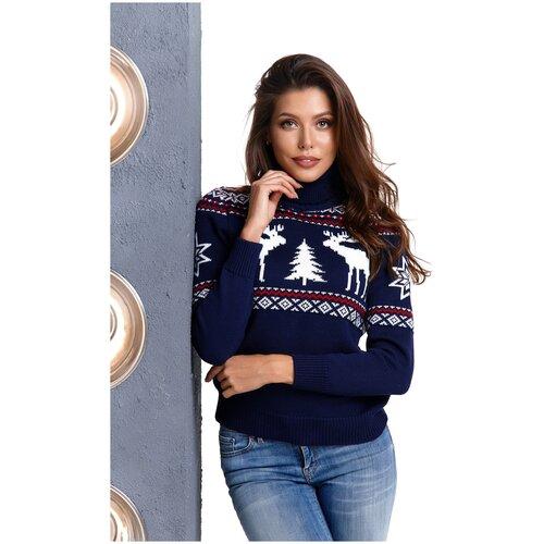 Шерстяной свитер, классический скандинавский орнамент с Оленями и снежинками, натуральная шерсть, темно-синий цвет, бело-красный орнамент, размер S