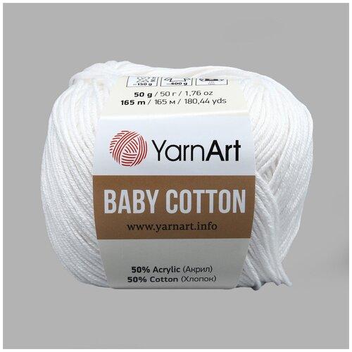 Фото - Пряжа YarnArt 'Baby Cotton' 50гр 165м (50% хлопок, 50% акрил) (400 белый), 10 мотков пряжа yarnart baby 50гр 150м 100% акрил 1182 коричневый 5 мотков
