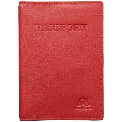 Обложка на паспорт A&M в фирменной подарочной коробке 100% натуральная кожа красный 6113Normal-red