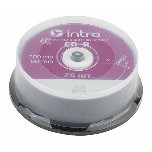 Фото - Intro Диск CD-R Intro 700Mb 52x Cake Box, 25шт (UL120230A8M) оптический диск cd r verbatim 700mb 52x cake box 10шт 43437