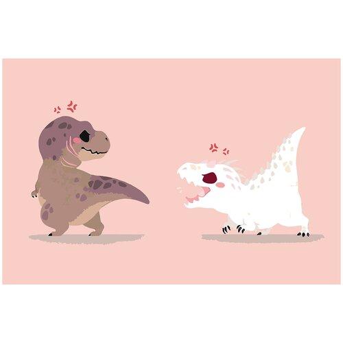 Купить Картина по номерам Динозавры минимализм, 80 х 100 см, Красиво Красим, Картины по номерам и контурам