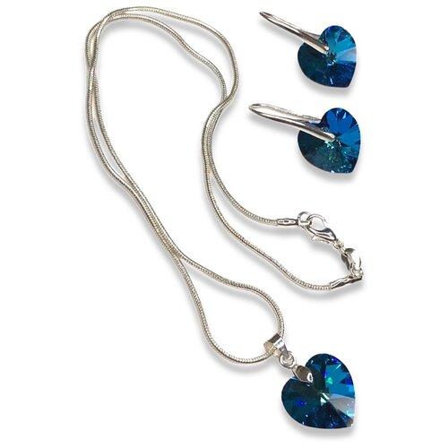 Amante crystal Комплект колье и серьги Roskosh Heart Bermuda Blue комплект колье серьги inesse m цвет зеленый