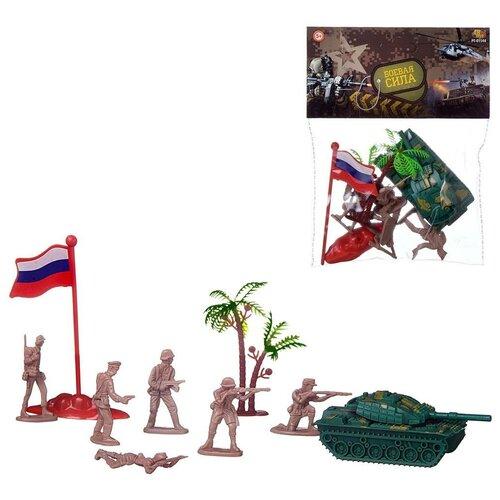 Игровой набор Abtoys Боевая сила 9 предметов (танк-бронетранспортер, солдатики, аксессуары)