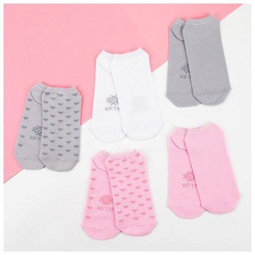 Носки Kaftan Nude 5189703, 5 пар, размер 23-25 см (37-39), белый/розовый/серый