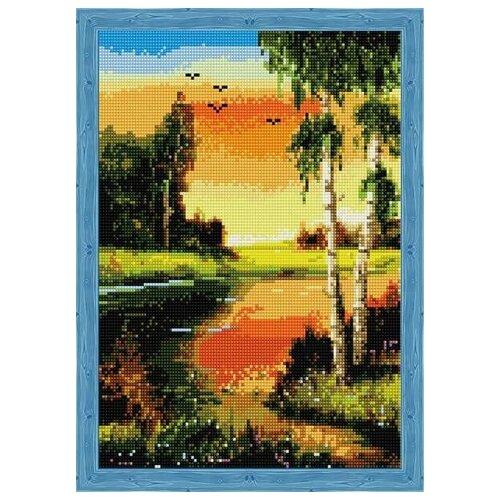 Купить Алмазная мозаика Березы на закате у реки (На подрамнике), картина стразами Цветной 30x40 см., Алмазная вышивка