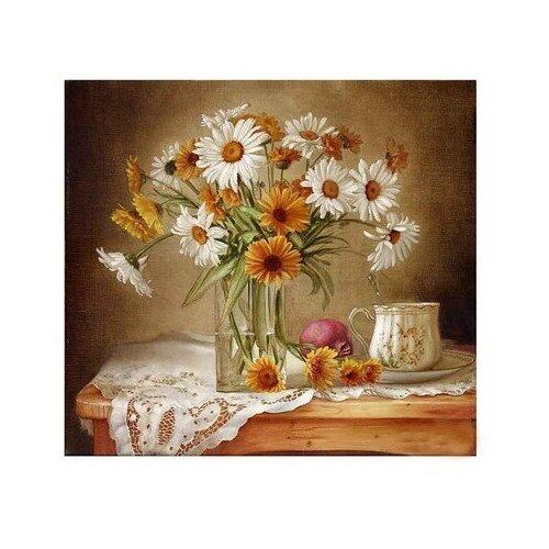Купить Картина по номерам Натюрморт с ромашками и календулой, 30x30 см. Molly, Картины по номерам и контурам