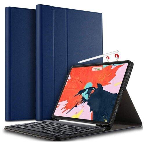 Клавиатура MyPads с чехлом для Samsung Galaxy Tab S6 Lite 10.4 SM-P610 / P615 съёмная беспроводная Bluetooth-клавиатура синяя кожаная + гарантия + русские буквы