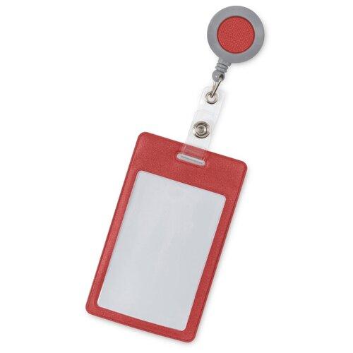 Flexpocket / Держатель для пропуска бейджа чехол для карт доступа с рулеткой / Карман обложка для проездного красный