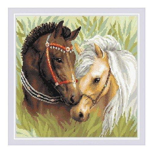 Купить Алмазная мозаика Пара лошадей, картина стразами Риолис 40x40 см., Алмазная вышивка