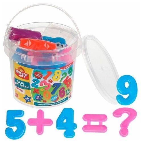 Купить Multiart MultiArt Тесто для лепки Цифры в ведре (10 цветов х 25 г, 16 формочек) S250NUMB-PD, Пластилин и масса для лепки