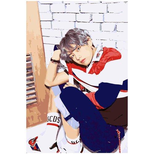 Купить Картина по номерам BTS Ким Тэ Хён, 80 х 100 см, Красиво Красим, Картины по номерам и контурам
