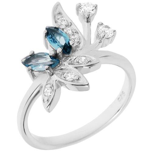 Фото - Balex Кольцо 1405934886 из серебра 925 пробы с топазом Лондон и фианитом, размер 18 element47 кольцо из серебра 925 пробы с топазами лондон r32560h 7 ko lt wg размер 17 25