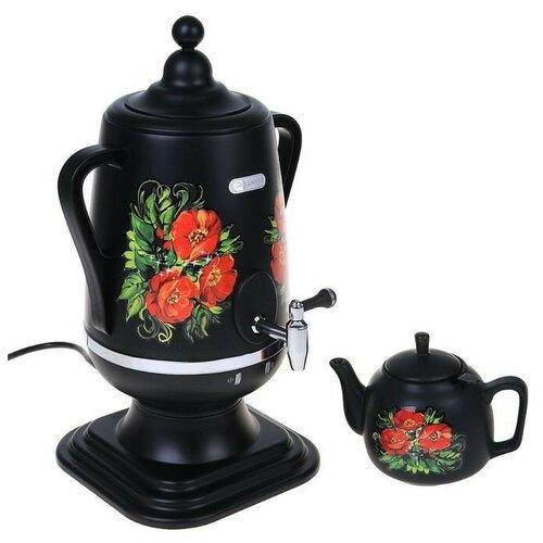 Добрыня DO-423 маки, Самовар электрический 4,0 л + керамический заварочный чайник 1,0 л (цвет: чёрный)
