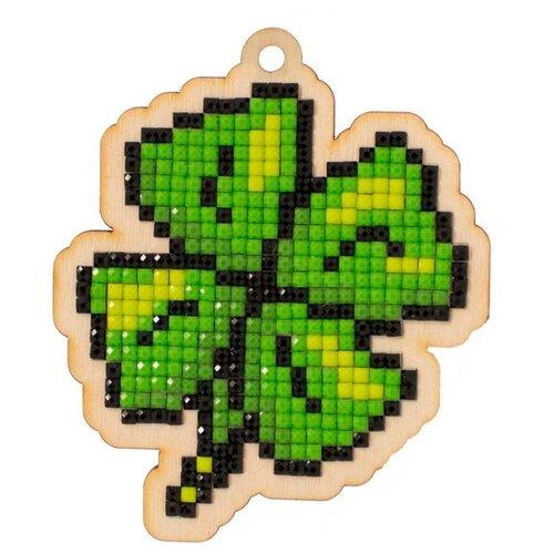 Купить Алмазная вышивка на дереве Подвеска «Клевер», 7, 2x8, 4 см, Гранни Wood, Алмазная мозаика