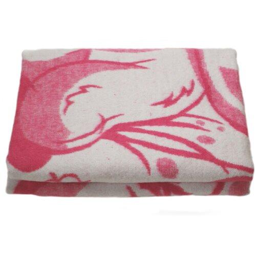 Одеяло байковое Вулли Вул Текс 100х140 см детское, рисунок Мишка, малиновое