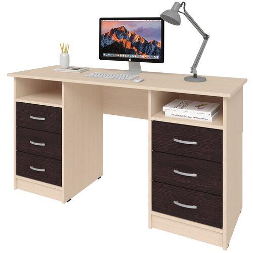 Фото - Письменный стол СитиМебель Хит-12, ШхГ: 140х50 см, цвет: дуб молочный/венге цаво письменный стол ситимебель компактный шхг 140х50 см цвет венге цаво