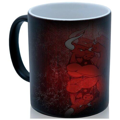 Кружка хамелеон Красный бык, недорогой подарок