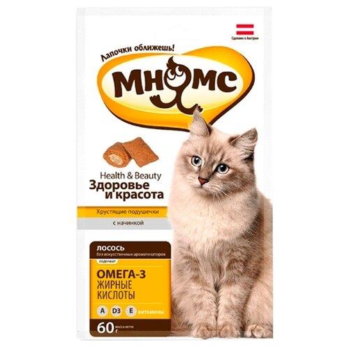Лакомство для кошек Мнямс Хрустящие подушечки Здоровье и красота, 60 г