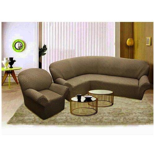 Комплект чехлов Жаккард Буклированный на угловой диван и кресло, Karteks