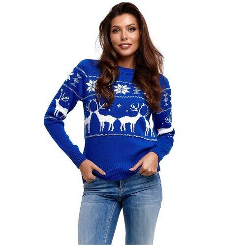 Шерстяной свитер, классический скандинавский орнамент с Оленями и снежинками, натуральная шерсть, васильковый цвет, размер L