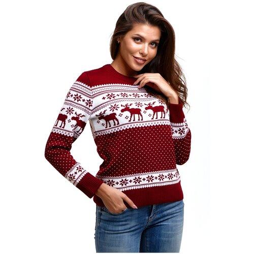 Новогодний женский свитер, классический скандинавский орнамент с Оленями и снежинками, натуральная шерсть, бордовый цвет, размер M