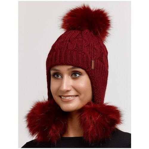 Детская шапка-ушанка с 3 меховыми помпонами, шапка ушанка крупная вязка, детская вязаная шапка, бордовый цвет