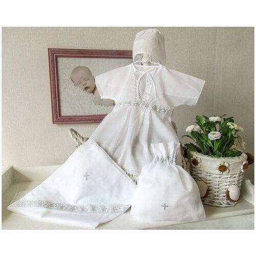 Купить Классика, 4 предмета, Крестильный набор Makkaroni Kids для девочки, (9-12 мес Белый/серебро), Крестильная одежда