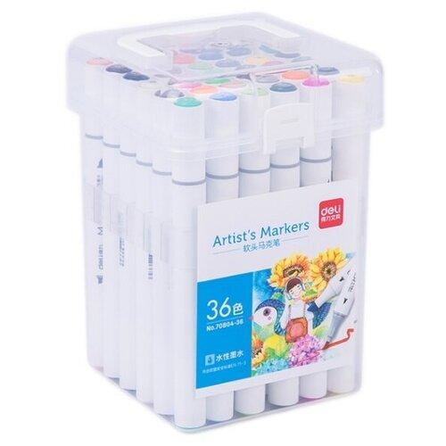 Купить Набор маркеров для скетчинга Deli 70804-36 двойной пиш. наконечник 36цв. пластиковая коробка, Фломастеры и маркеры