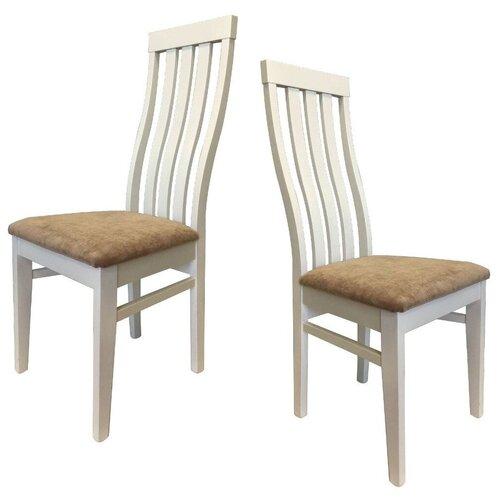 Комплект кухонных стульев (2 шт.), СтолБери, Грасс, деревянный, эмаль белая 004, ткань 003