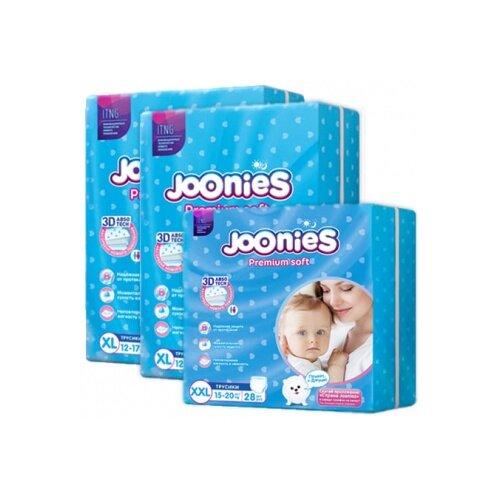 Joonies трусики Premium Soft XL (12-17 кг) 2x38 шт + трусики Premium Soft XXL (15-20 кг) 28 шт., 3 уп. трусики unik 3 шт