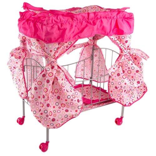 Buggy Boom Кроватка с балдахином Loona светло-розовый с разноцветными кружочками