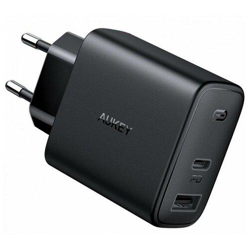 Фото - Сетевое зарядное устройство Aukey PA-F3S 32W USB+USB-C, черное сетевое зарядное устройство aukey travel charger pa u32 12w 2xusb a черное