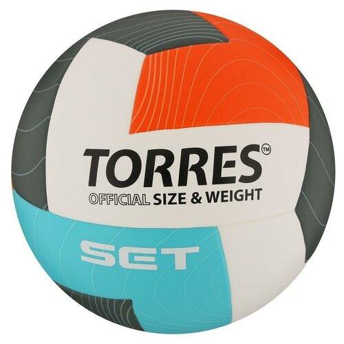 Мяч волейбольный TORRES Set, размер 5, синтетическая кожа (ТПУ), клееный, бутиловая камера, бело-оранж-серо-го