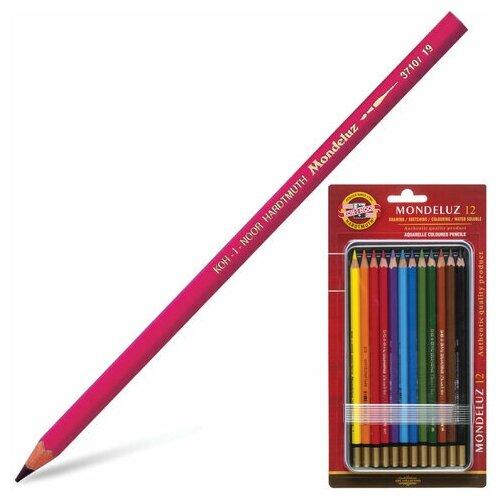 Купить Карандаши цветные акварельные художественные 12 цветов KOH-I-NOOR Mondeluz , 3, 8 мм, заточенные, 3722/12, 3722012008BL, 1 шт., Цветные карандаши