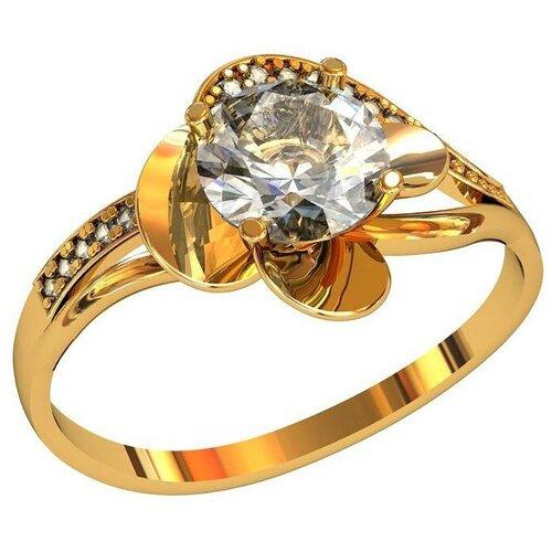 Фото - Приволжский Ювелир Кольцо с 25 фианитами из серебра с позолотой 262262-FA11, размер 19 приволжский ювелир кольцо с 65 фианитами из серебра с позолотой 252119 fa11 размер 19 5