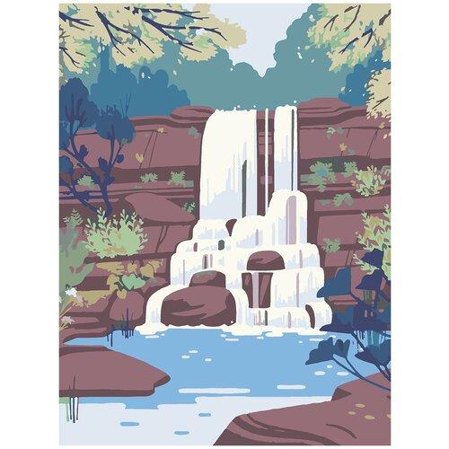 Купить Картина по номерам Водопад Минимализм, 80 х 100 см, Красиво Красим, Картины по номерам и контурам