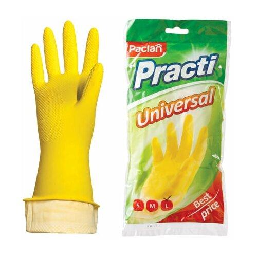 Фото - Перчатки хозяйственные латексные, х/б напыление, размер L (большой), желтые, PACLAN Practi Universal, 3 шт. перчатки хозяйственные paclan виниловые размер l 10 шт