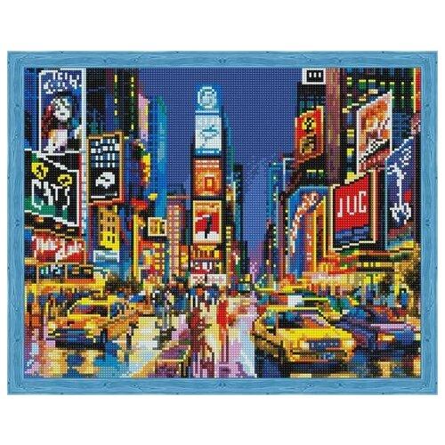 Купить Алмазная мозаика Нью Йорк в огнях рекламы (На подрамнике), картина стразами Цветной 40x50 см., Алмазная вышивка