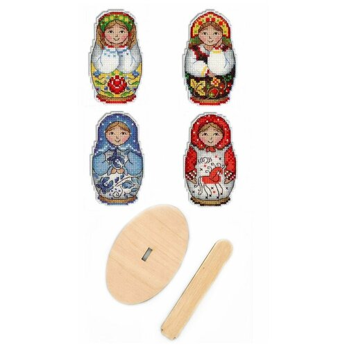 Купить Набор для вышивания крестом, комплект: Р-337 Русские матрешки. Магниты , РА-008 подставка деревянная малая , МП Студия, М.П.Студия, Наборы для вышивания