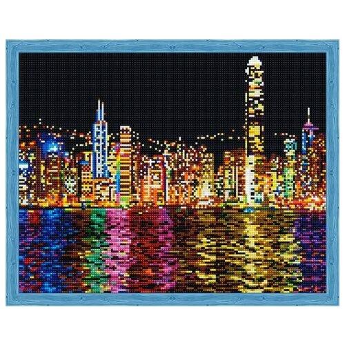 Купить Алмазная мозаика Ночной Нью-Йорк (На подрамнике), картина стразами Цветной 40x50 см., Алмазная вышивка