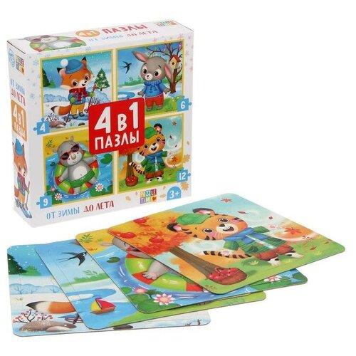 Купить Пазлы 4 в 1 От зимы до лета , 4, 6, 9, 12 элементов 5411906, Puzzle Time