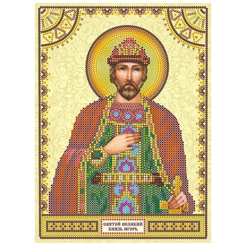 Схема для вышивки иконы бисером на холсте АБРИС АРТ АСK-007 Святой Игорь 17х23см
