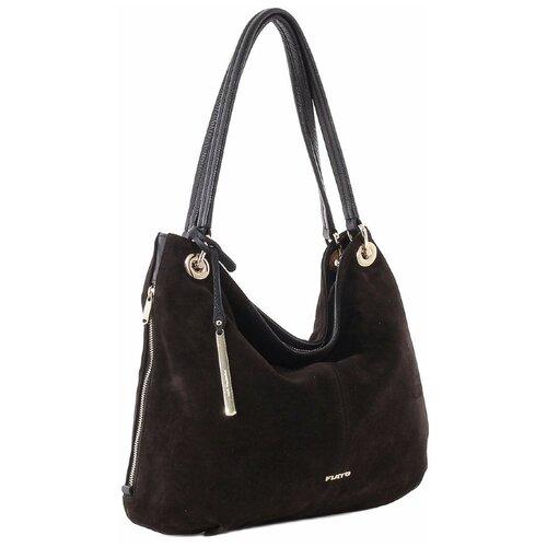 Женская сумка-мешок Fiato collection, 2820 замша коричневый/кожа /черный