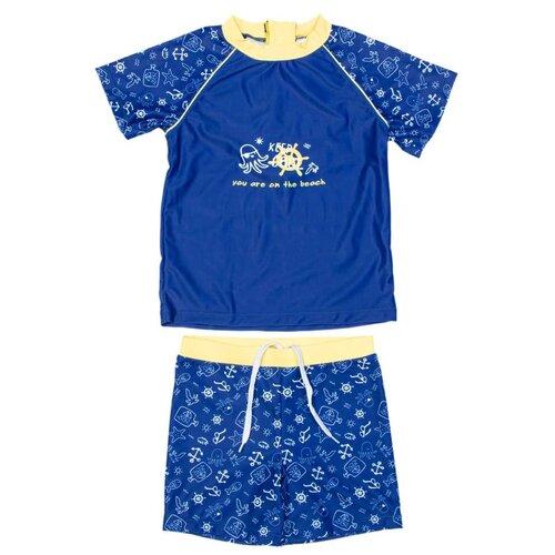 Купить Костюм купальный КОТОФЕЙ 2 шт., размер 104-110, темно-синий, Белье и пляжная мода