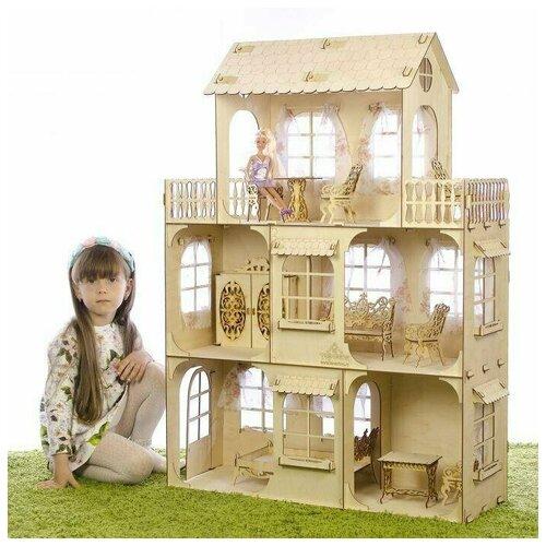 Деревянный кукольный домик для Барби Большой дом (КД-2) Теремок