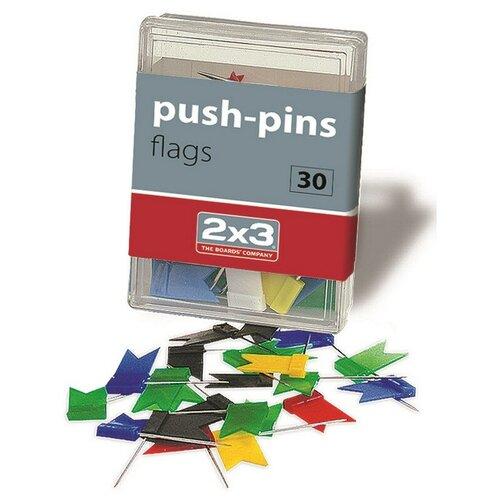Кнопки для пробковых досок силовые флажки 2x3, ассорти 30 шт/пласт.уп. A003 3 шт.