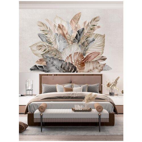 Фотообои Большие тропические листья в серо-коричневых тонах/ Красивые уютные обои на стену в интерьер комнаты/ 3Д расширяющие пространство/ На кухню в спальню детскую зал гостиную прихожую/ размер 300х180см/ Флизелиновые