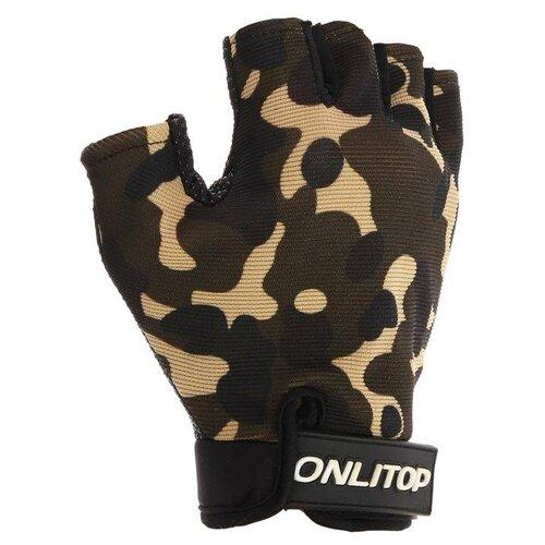 Перчатки спортивные, размер S, цвет хаки
