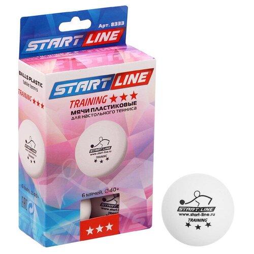 Мяч для настольного тенниса Start line Training, 3 звезды, набор 6 шт., цвет белый