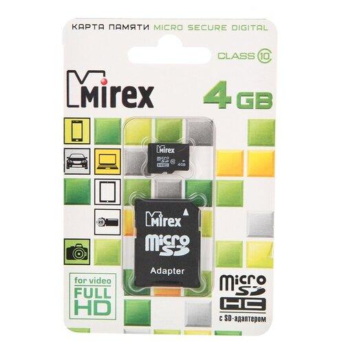 Фото - Карта памяти 4Gb - Mirex - Micro Secure Digital HC Class 10 13613-AD10SD04 с переходником под SD (Оригинальная!) карта памяти hoco micro sd 4gb синяя